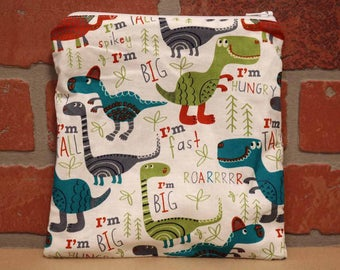 One Sandwich Bag, Dinosaurs, Reusable Lunch Bags, Waste-Free Lunch, Machine Washable, Sandwich Sacks, item #SS76
