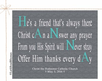 Confirmation Gifts For Girls Inspirational Art Meaningful Gift Christian Prints Religious Decor Prayer Wall Art Personalized Poem 8x10 Hanna