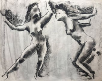 Charcoal Sketch of Women, One of a Kind