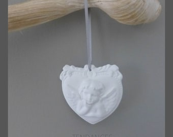 Objects of decoration ceramic Angel heart suspended Grey Ribbon