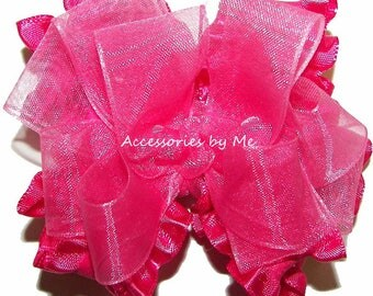 Hot Pink Ruffle Bow, Frilly Ruffle Baby Hair Clip, Girls Small Ruffle Bow, Ruffle Pageant Bow Headband, Ruffle Hair Band, Dressy Ruffle Bows