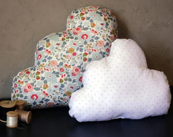 Set of 2 decorative pillows baby child clouds Liberty Betsy and silver polka dots