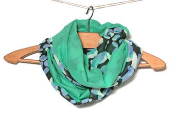 Woman Snood mothers - chiffon and cotton Green