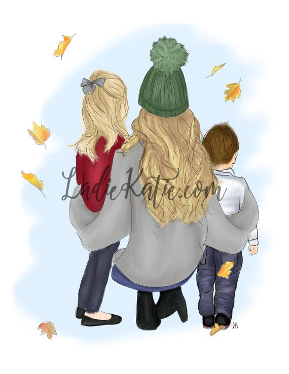 Christmas illustration, Christmas art, holiday art, holiday illustration, family art, mother daughter art, mommy and me, gifts for her