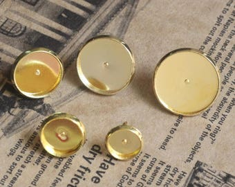 Bulk 100 pcs Stud Bezel Earring - Settings Brass base gold tone