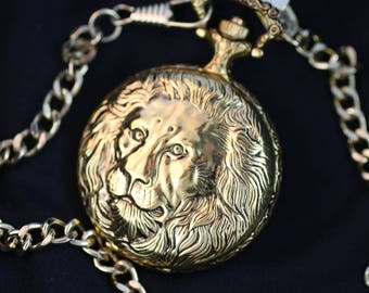 Golden Lion • Beautiful Quartz Pocket Watch • by Christian Savoy • Free Shipping! • Ready for Use
