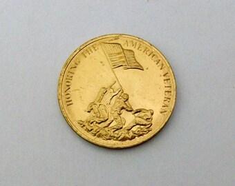 Honoring the American Veteran token medal.  Preserving American Freedom.
