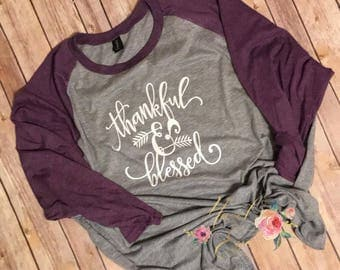 Thankful and Blessed Shirt - Fall Shirt - Thanksgiving Shirt - Women's Fall Shirt - Give Thanks - Thankful Grateful Blessed Shirt-Fall Tees