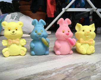 Vintage Rubber Pink Rabbit, Yellow Cat , Yellow Bear and Blue Rabbit Baby Toys