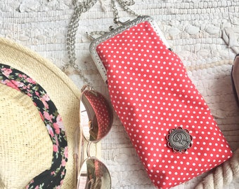 Glasses case | cell phone | red polka dots