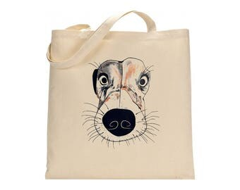 Dog tote bag, mini present, doggy lover, jack russel terrier, dog face bag, carrier bag, cotton tote