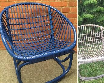 Sailor Blue Rattan Chair