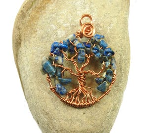 September birthstone necklace ~ Amulet tree-of-life pendant ~ Boho tree of life ~ Copper tree-of-life ~ Women's tree-of-life jewelry