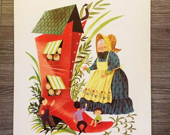 Nursery Rhyme Print, Lithograph, Old Mother Hubbard, 1950s Childrens Decor, Leonard Weisgard Print, Nursery Decor, Baby Room