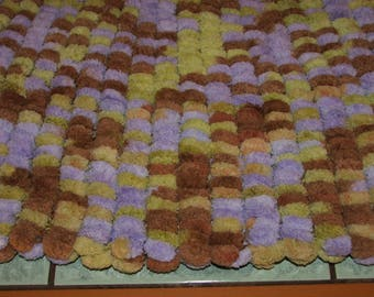 baby or throw blanket lined Brown tassels, lime and purple - handmade