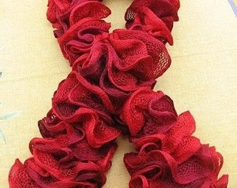 scarf ruffle red small nets