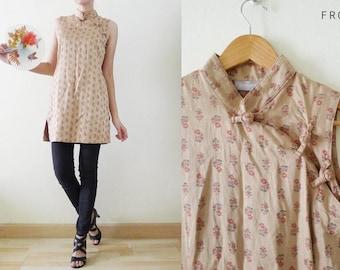 VTG brown Cheongsam / QiPao Chinese top FLORALS printed,sleeveless mandarin collar long blouse,tunic,oriental,Asian,boho,hipster,cyber,Small