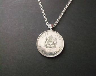Morocco Dirham Coin  Necklace -  Morocco Dirham 1987 Coin Necklace with bail and chain