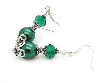 Emerald Bridesmaid Jewellery, Forest Green Matching Bridal Set, Pearl Bridal Bracelet, Bridesmaid Gifts Idea, Keepsake Gift, Autumn Wedings