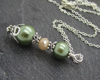 Pale Peach and Olive Bridesmaid Jewellery, Olive Wedding Necklace, Pearl Bridal Sets, Simple Necklace, Bridesmaid Gift Idea, Rustic Wedding