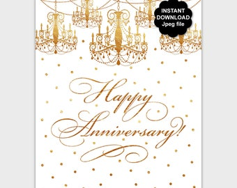 Gold Happy Anniversary Sign, Gold Anniversary Party Sign, Printable Anniversary Table Sign, Gold Foil Party Decor, Anniversary Wall Art PP8