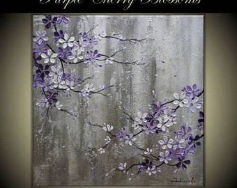 "4th of July sale Original Modern Art  Painting on Gallery wrapped Canvas , Home decor, 30"" x 30"" Purple Cherry Blossoms"