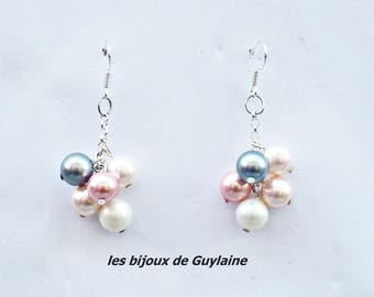 Earrings in 925 sterling silver and freshwater cultured pearls