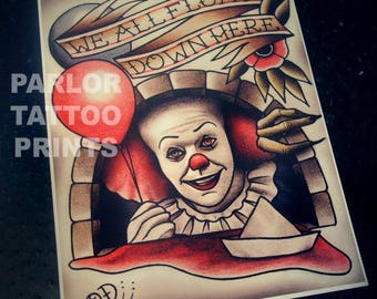 Pennywise Scary Clown IT Stephen King Horror Movie Tattoo Art Print