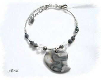 ethnic CO195 gray Jasper Heart Necklace