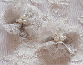 2 Lace Flowers Lace Rose Fabric Flower With Rhinestone Pearl (2-3/4 inches) Lt Gray MY-680-01 Ready To Ship