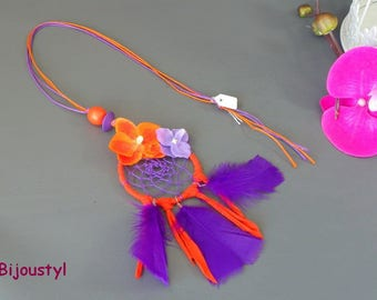"""Purple and orange dream catcher"" fantasy necklace waxed * flowers * feathers"