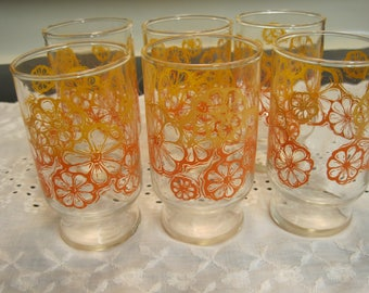 Set Of Six Vintage  Juice Glasses  1960,s