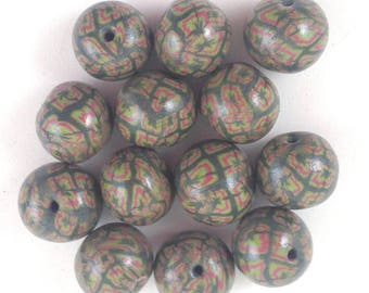 Handmade Polymer Clay Green   pattern  Beads  Fimo Beads  13 mm Round Polymer Clay Beads Round Handmade Beads Craft Supply Qty 12