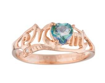 14Kt Rose Gold Plated Natural Blue Mystic Topaz & Diamond Heart MOM Ring