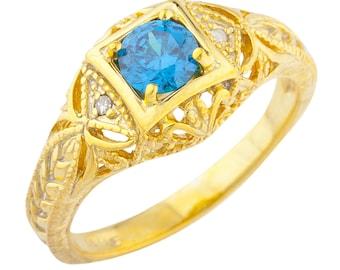 14Kt Yellow Gold Plated Swiss Blue Topaz & Diamond Round Ring
