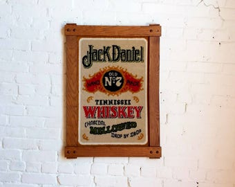 Vintage Jack Daniels Old No. 7 Whiskey advertising tapestry collectible framed art whisky