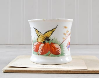 Vintage Mustache Mug with Butterfly and Flowers - Ceramic Shaving Cup