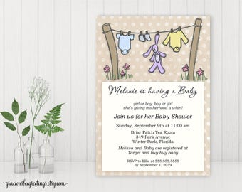 Baby Shower Invitation, Baby Sprinkle Invitation, Gender Neutral Baby Shower, Sip and See Invite, printable, digital, B5006