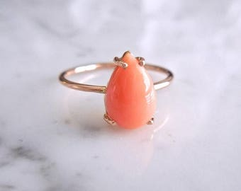 Summer Sale Coral Ring - Solitaire Coral Ring, Natural Coral, Pear Coral Ring, 10 x 7 mm, Pink Coral, Stackable Ring, Birthday Gifts for Her