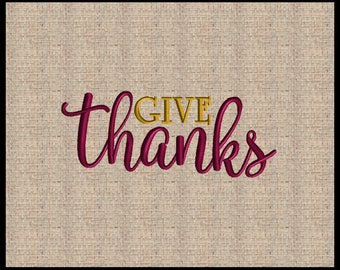 Give Thanks Fall Embroidery Design Pumpkin Embroidery Design  Embroidery Design 7 sizes 4x4 and up