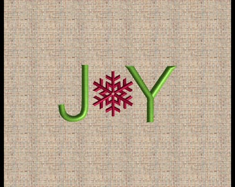 Word Joy Machine Embroidery Design Snowflake Embroidery Design Word Joy with Snowkflake O Embroidery Design Christmas Joy Embroidery Design