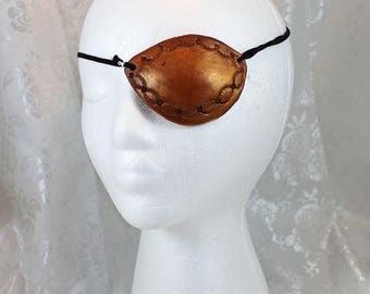 Leather Eye Patch, Golden Brown Tooled Leather CoPlay Pirate Eye Patch
