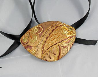 Pirate Eye Patch, Gold Paisley Satin Brocade Over Leather Eye Patch