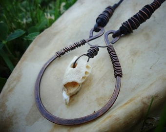 Hammered Copper, Jaw Bone fragment Necklace.