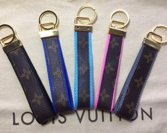Handmade Monogram Louis Vuitton Repurposed Wristlet Keychain With Gold Tone Hardware.