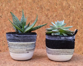 Black and White Coiled Cotton Rope Planters