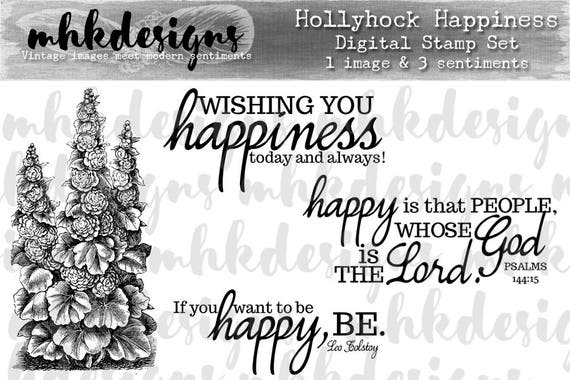 Hollyhock Happiness Digital Stamp Set