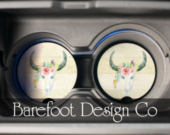 Boho Bull Skull Personalized Custom Sandstone Car Coaster FAST SHIPPING