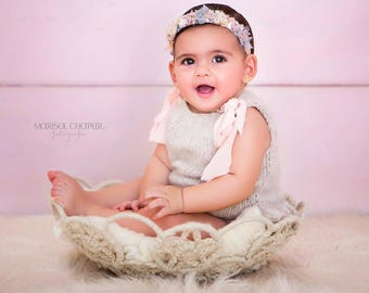 9-12 months - Sitter props - Sitter romper - Baby girl props - Photo props - Sitter girl props - Photo prop - Sitter girl romper-Light brown