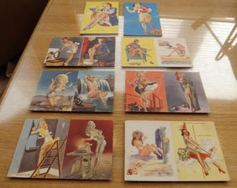 Lot of Seven Litho American Beauties Pin Ups Risque Pictures